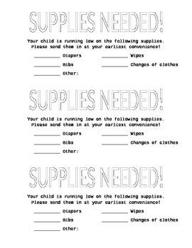Printable supplies needed list