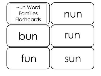 Printable ~un Word Families Flash Cards.  Prints 10 cards.