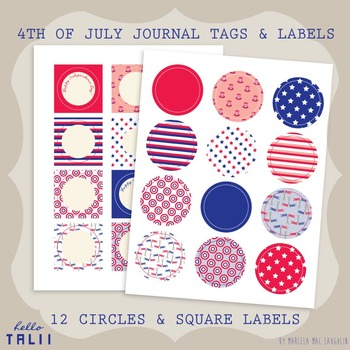 Printables: 4th of July Round Stickers and Square Labels