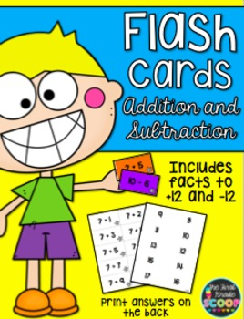 Printer-Friendly Addition and Subtraction Flash Cards