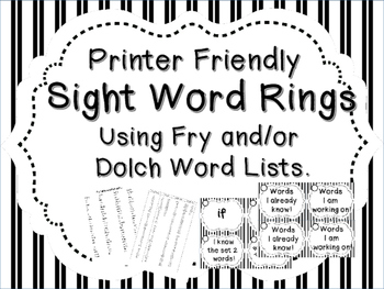 Printer Friendly Sight Word Rings