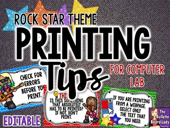 Printing Tips - Rock Star Theme for Computer Lab