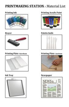 TAB Printmaking Station Materials