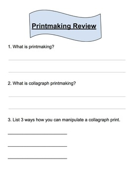 Printmaking Review Worksheet