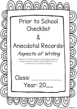 Prior To School Checklist: ASPECTS OF WRITING (Australian