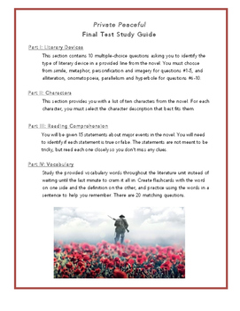 Private Peaceful Final Test Study Guide