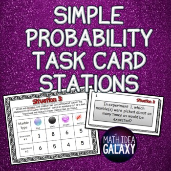 Simple Probability Task Cards Stations