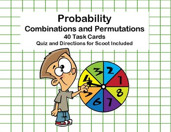 Probability -Combinations and Permutations -40 Task Cards-