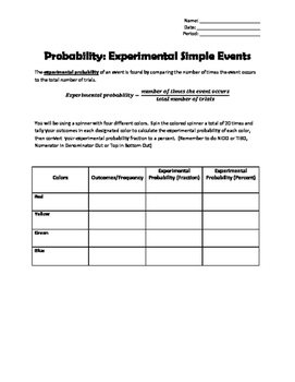 Probability: Experimental Simple Event