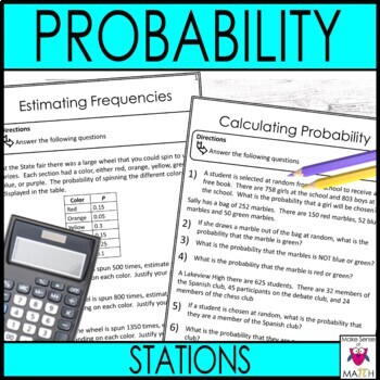 Probability Middle School Math Stations