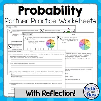 Probability - Partner Practice Worksheets + Reflection Pag