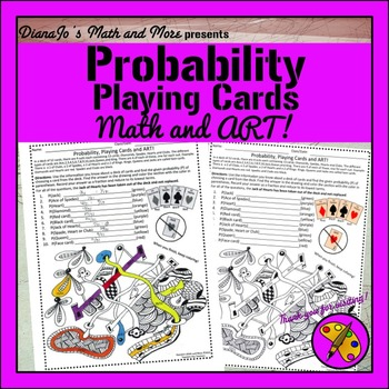 8th Grade Math Probability, Playing Cards and Art II Worksheet