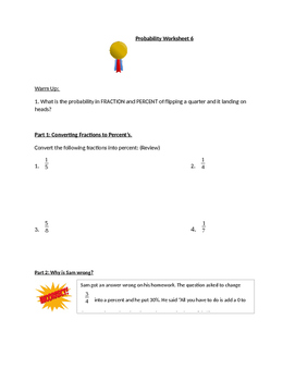 Probability Worksheet 6 (Simple events)