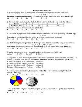 Probability/Statistics Summative Assessment
