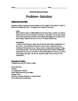 Problem-Solution Research Paper and Presentation - Assignm