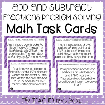 Problem Solving Fractions (Add and Subtract Word Problems)