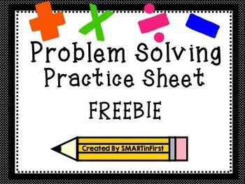 Problem Solving Practice Sheet Freebie
