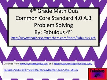 Problem Solving Quiz (Common Core)