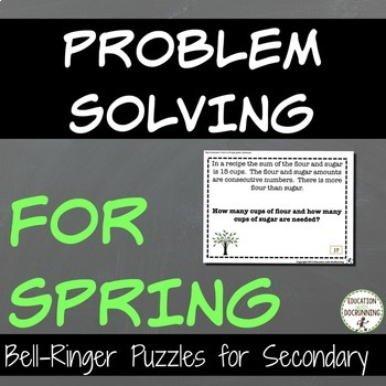 Problem Solving Spring Puzzles for Warm-Up, Bell-Ringers,