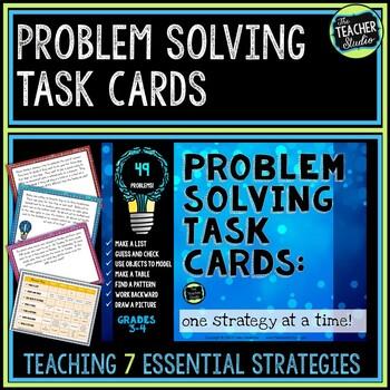 Problem Solving Task Cards: 7 Strategies for Grades 3-4