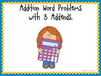Problem Solving Task Cards (Addition with 3 Addends)