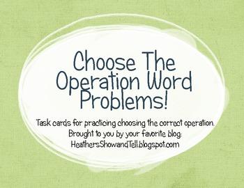 Problem Solving Task Cards! Choose the operation