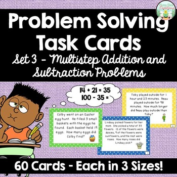 Addition and Subtraction Multistep Word Problem Task Cards