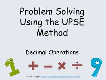 Problem Solving Using the UPSE Method - Decimal Operations