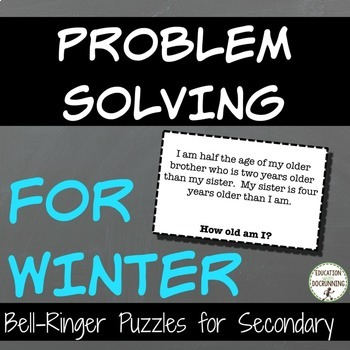 Problem Solving Winter Puzzles for Warm-Up, Bell-Ringers,
