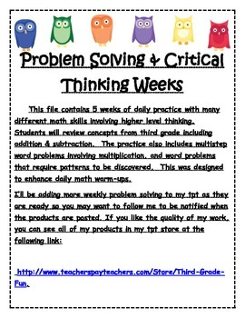 Problem Solving and Critical Thinking Weeks 11-15