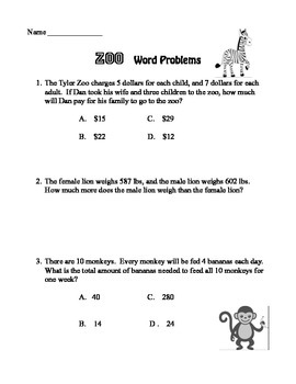 End of the Year Problem Solving at the Zoo