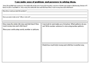 Problem Solving using Math Practices M.P.1 and 7