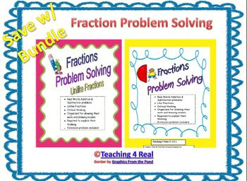 Problem Solving with Fractions Bundle: Like & Unlike denominators