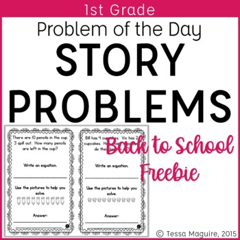 Problem of the Day Story Problems 1st Grade- Back to Schoo
