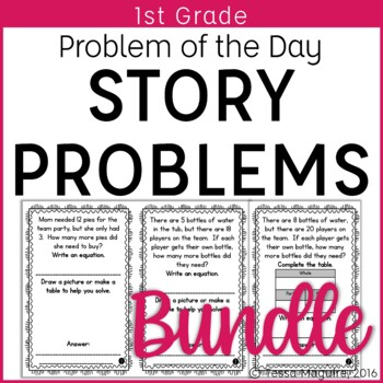Problem of the Day Story Problems 1st Grade- Bundle