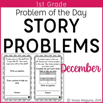 Problem of the Day Story Problems 1st Grade- December