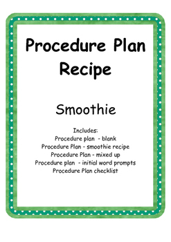 Procedure Plan - Recipe Smoothie