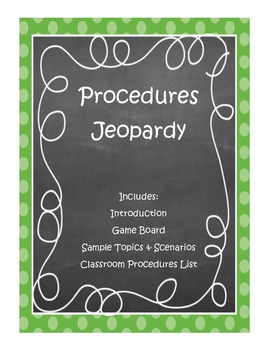 Classroom Management: Procedures Jeopardy