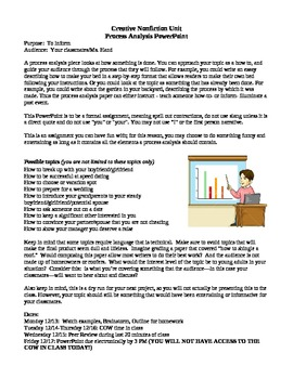 Process Analysis (How-To) PowerPoint Assignment, Outline &