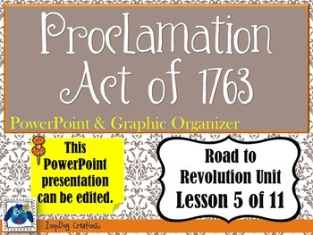 Proclamation Act of 1763 PowerPoint and Graphic Organizer