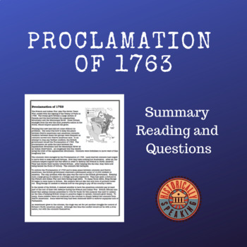 Proclamation of 1763: Reading and Questions