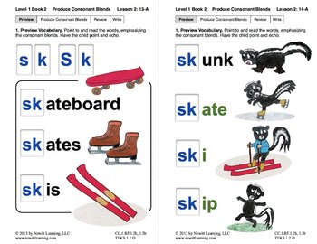 """Produce Consonant Blends """"Sk"""" and """"Sl"""": Lesson 2, Book 2 ("""