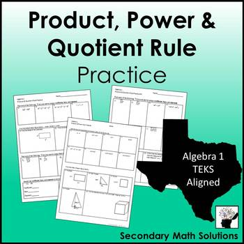 Exponents - Product & Quotient Rule Practice
