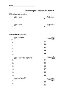 Product Rule, Quotient Rule, and Trig Derivatives