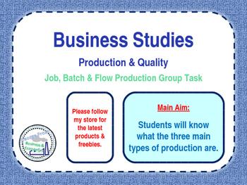 Production Methods - Job, Batch & Flow Production - Group