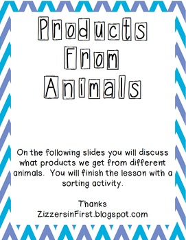 Products From Animals SmartBoard Sort