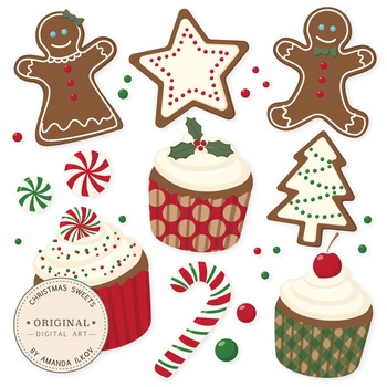 Professional Christmas Cookies and Cupcakes Clipart & Vect