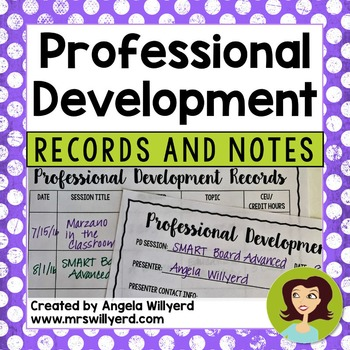 Professional Development Records and Notes (PD) Back to School