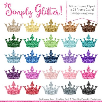Professional Glitter Crowns Clipart - Glitter Crown, Glitt