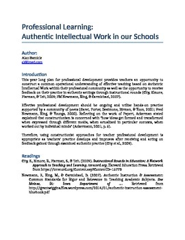 Professional Learning:  Authentic Intellectual Work in our